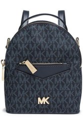 Michael Michael Kors Woman Convertible Two Tone Printed Textured Leather Backpack Navy