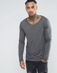 Asos Long Sleeve T Shirt With Scoop Neck In Charcoal Charcoal Grey