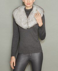 The Fur Vault Fox Shawl Collar Blue Fox