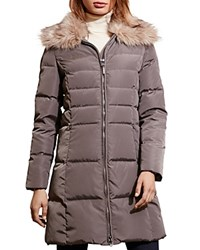 Ralph Lauren Faux Fur Trim Quilted Puffer Coat Flannel Grey