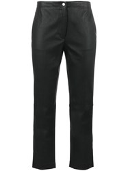 Helmut Lang Cropped Flared Trousers Women Cotton Lamb Skin 8 Black
