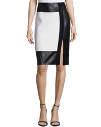 Ralph Lauren Black Label Colorblock Leather Inset Pencil Skirt Cream Black