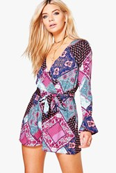 Boohoo Wrap Front Playsuit Multi