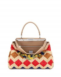 Fendi Peekaboo Medium Floral Raffia Satchel Bag Natural Multi Neutral Pattern