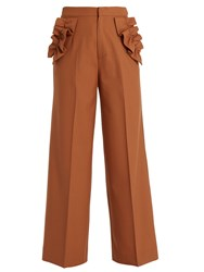 Muveil Ruffle Trimmed High Rise Trousers Camel