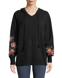 Johnny Was Amira Cashmere Embroidered Sleeve Hoodie Black