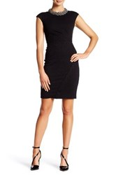 London Times Jacquard Release Tuck Cocktail Dress Petite Black