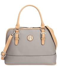 Giani Bernini Saffiano Dome Satchel Only At Macy's Light Grey