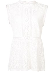 Veronica Beard Lace Fitted Blouse Women Cotton 8 White