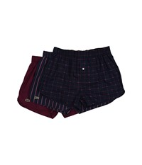 Lacoste Authentics Signature Print 3 Pack Woven Boxers Red Plum Red Plum Stripe Potent Purple Men's Underwear Multi