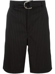 Blood Brother Striped Pattern Tailored Shorts Black