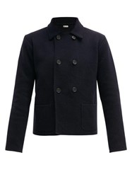 Connolly Cropped Double Breasted Cotton Blazer Navy