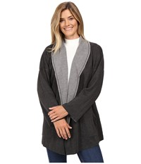 Mod O Doc Two Tone Ponte Reversible Kimono Sleeve Coat Dark Grey Women's Coat Gray