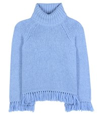 Tory Burch Jennifer Fringed Turtleneck Sweater Blue