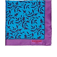 Duchamp Men's Floral Print Pocket Square Blue Purple Blue Purple