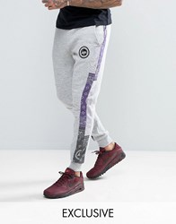 Hype Skinny Joggers In Grey With Bandana Print Panels Grey