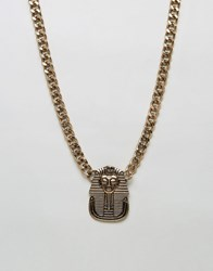 Asos Necklace With Egyptian Pendant In Gold Gold