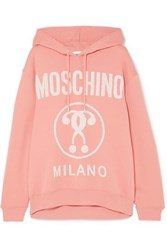 Moschino Printed Cotton Jersey Hoodie Pink