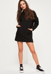 Missguided Petite Exclusive Black Oversized Sweater Dress