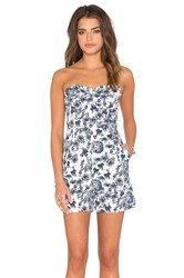 Lucca Couture Hardwoven Strapless Bermuda Romper Blue