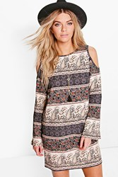 Boohoo Paisley Cold Shoulder Flared Sleeve Dress Multi