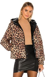 Alice Olivia Durham Reversible Hooded Puffer In Brown. Spotted Leopard Dark Tan And Black