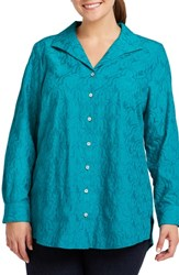 Foxcroft Plus Size Ivory Mosaic Embroidered Shirt Emerald Cut