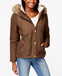 American Rag Faux Fur Trim Hooded Parka Only At Macy's Brown