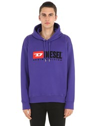 Diesel Logo Cotton Jersey Sweatshirt Hoodie Purple
