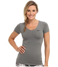 Nike Pro S S V Neck Top Carbon Heather Black Women's T Shirt Gray