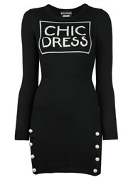 Boutique Moschino Collared Knit Dress Black