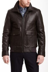 Vince Camuto Leather Zip Coat Brown