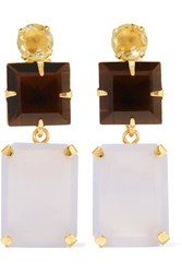 Bounkit Gold Tone Quartz And Chalcedony Earrings Multi