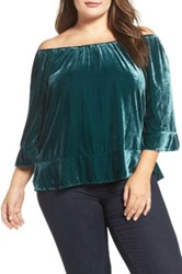Democracy Velvet Off The Shoulder Flounce Hem Top Plus Size Green