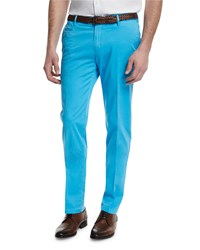 Isaia Flat Front Cotton Trousers Aqua Blue Men's