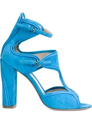 Monique Lhuillier Buckled Chunky High Heel Sandals Blue