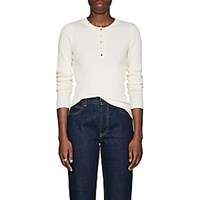 Lisa Perry Rib Knit Cashmere Henley White
