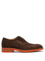 Paul Smith Fremont Contrast Sole Suede Brogues Dark Brown