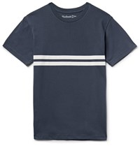 Mollusk Striped Cotton Jersey T Shirt Navy