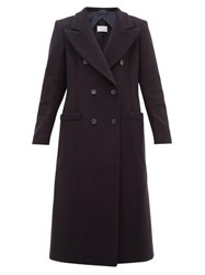 Maison Martin Margiela Double Breasted Wool Blend Coat Navy