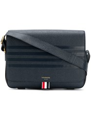 Thom Browne 4 Bar Emboss Reporter Bag Blue
