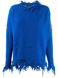 Etro Distressed Sweatshirt Blue