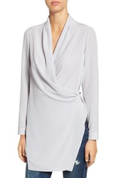Astr Women's Long Sleeve Wrap Tunic Blouse Soft Grey
