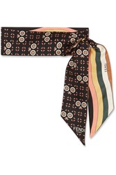 Fendi Reversible Printed Silk Twill Scarf Black