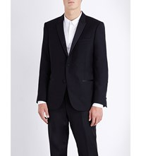 The Kooples Satin Trimmed Slim Fit Wool Jacket Black