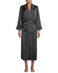 Vivis Katiuscia Lace Trim Long Silk Robe Dark Gray