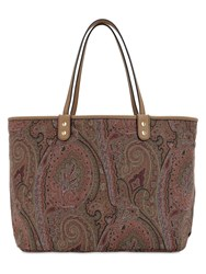 Etro Reversible Paisley Coated Cotton Tote Multicolor