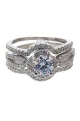 Sterling Silver Round Cz Solitaire And Pave Bands Ring Set Metallic