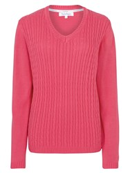 Tulchan V Neck Cable Jumper Pink