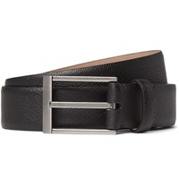 Lanvin 3Cm Black Pebble Grain Leather Belt Black